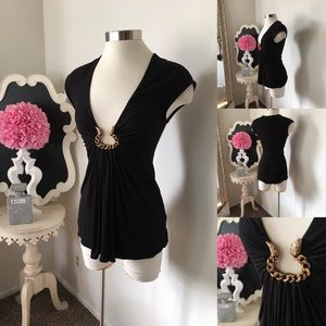 🌺 Sky Brand  Black Top - Gorgeous Front Snake